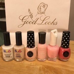 Set of 6 neutral / pink polishes